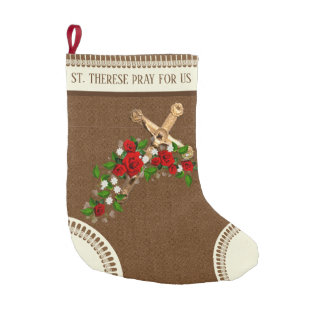 St. Therese the Little Flower Red Roses Crucifix Small Christmas Stocking