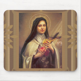 St. Therese the Little Flower Roses & Crucifix Mouse Pad