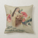 "St. Therese the Little Flower Roses Crucifix Throw Pillow<br><div class=""desc"">Beautiful Vintage image of St. Therese the Little Flower with her Roses and Crucifix Text may be customized!</div>"