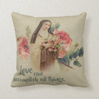 St. Therese the Little Flower Roses Crucifix Throw Pillow