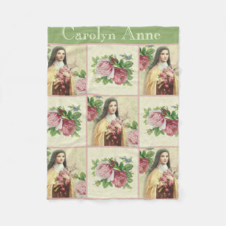 St. Therese the Little Flower w/red & pink roses Fleece Blanket