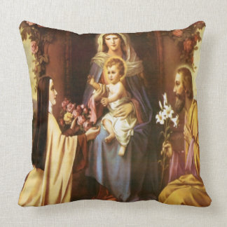 St. Therese, Virgin Mary, St. Joseph, Baby Jesus, Throw Pillow