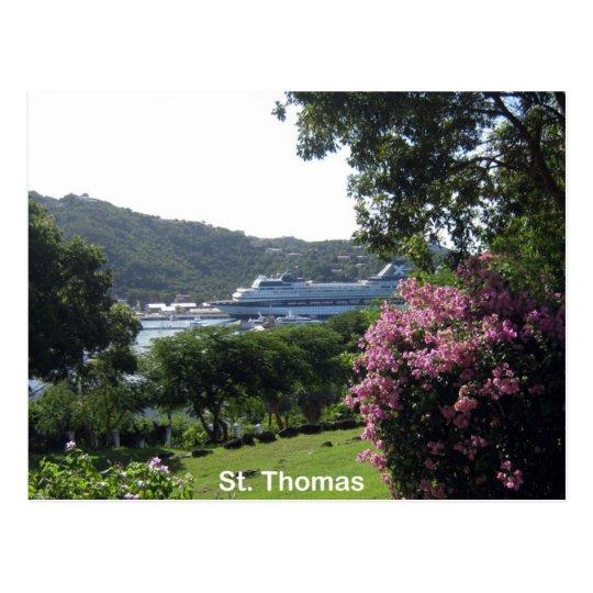 St. Thomas and Cruise Ship Postcard