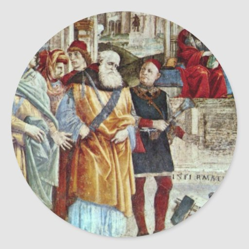 St. Thomas Aquinas And The Heretics Detail Round Stickers