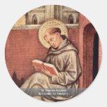 St Thomas Aquinas de Gentile da Fabriano Etiqueta Redonda