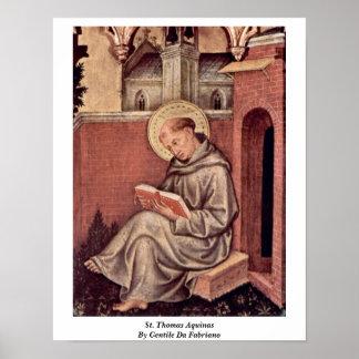 St Thomas Aquinas de Gentile da Fabriano Póster