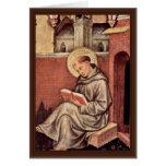 St Thomas Aquinas de Gentile da Fabriano Tarjeta De Felicitación