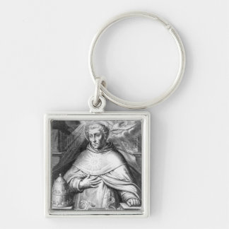 St Thomas Aquinas Llavero Cuadrado Plateado