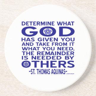 St. Thomas Aquinas Quote Sandstone Coaster