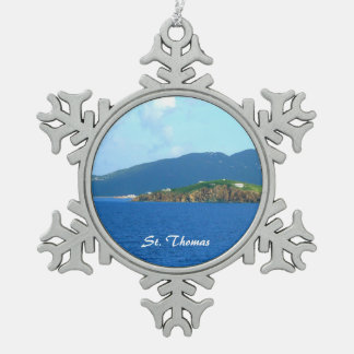 St. Thomas Arrival Snowflake Pewter Christmas Ornament
