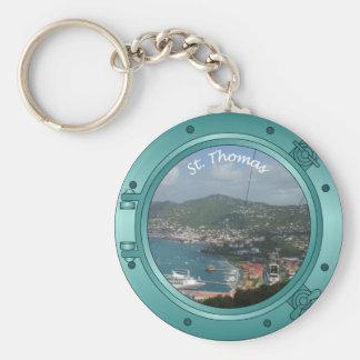 St Thomas Porthole Basic Round Button Keychain