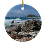 St. Thomas Rocky Beach Island Landscape Double-Sided Ceramic Round Christmas Ornament