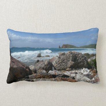 Beach Themed St. Thomas Rocky Beach Tropical Landscape Lumbar Pillow