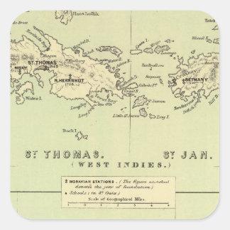 St Thomas, St enero, ladrón del St Pegatina Cuadradas Personalizadas