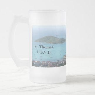 St. Thomas U.S.V.I. Frosted Glass Beer Mug