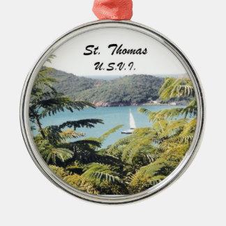 St. Thomas, U.S.V.I. Round Metal Christmas Ornament