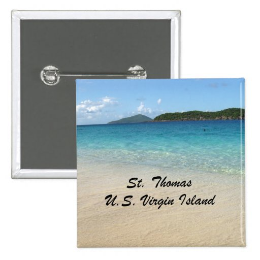 St. Thomas, U.S. Virgin Island 2 Inch Square Button