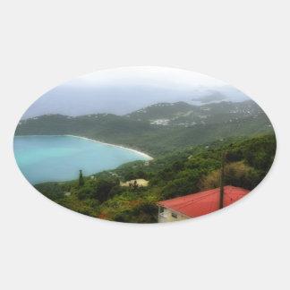 St. Thomas US Virgin Island overlook Oval Sticker