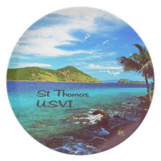 St Thomas view from Coral World Party Plates