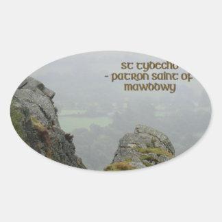 St Tydecho's Head Overlooking the Dyfi Valley Oval Sticker