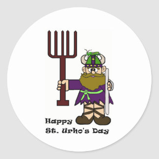 St. Urho with one grasshopper on Hat  Stickers
