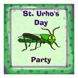 St. Urho's Day Party Invite with Grasshopper