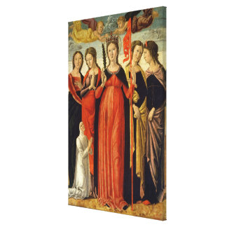 St. Ursula and Four Saints (tempera on panel) Canvas Print
