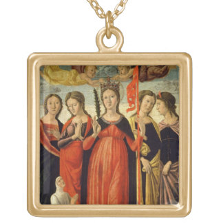 St. Ursula and Four Saints (tempera on panel) Gold Plated Necklace