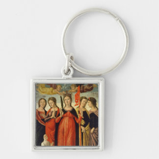 St. Ursula and Four Saints (tempera on panel) Keychain
