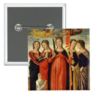 St. Ursula and Four Saints (tempera on panel) Pinback Button