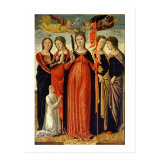St Ursula and Four Saints tempera on panel Post Card