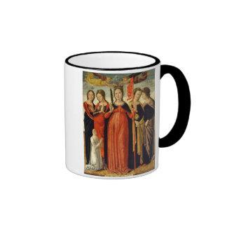 St. Ursula and Four Saints (tempera on panel) Ringer Coffee Mug