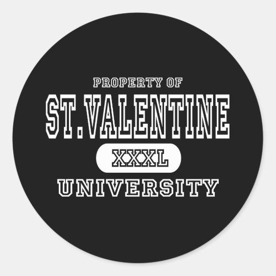 St. Valentine University Dark Classic Round Sticker