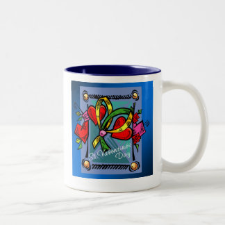 St. Valentine's Day 4 -- Blue Two-Tone Coffee Mug