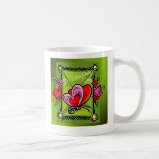 St. Valentine's Day 4 -- Green Classic White Coffee Mug