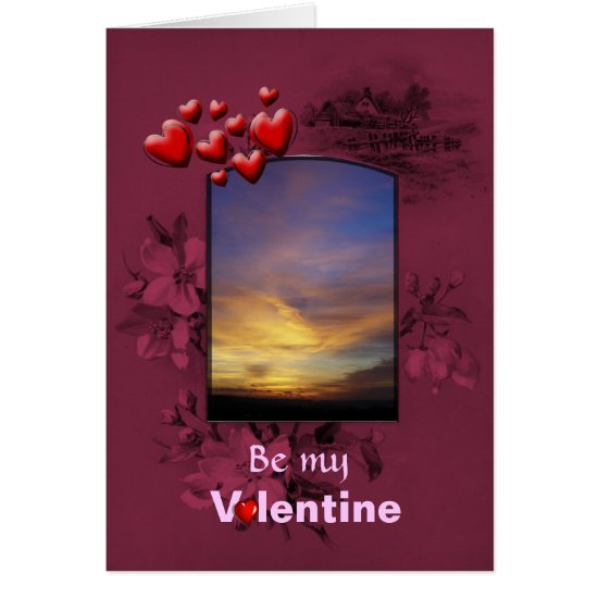St Valentines Day Golden Azure Sunset Card