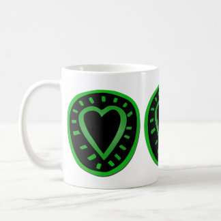 St Valentine's Day - Green and black Heart -2- Coffee Mug