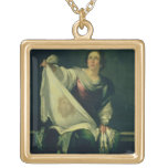 St. Veronica, 1625-30 (oil on canvas) Square Pendant Necklace