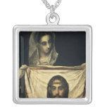 St.Veronica con la cubierta santa Collar Plateado