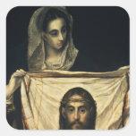 St.Veronica con la cubierta santa Pegatina Cuadrada
