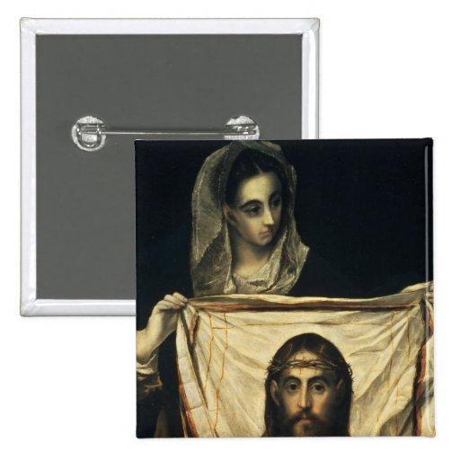 St.Veronica con la cubierta santa Pin Cuadrado