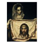 St.Veronica con la cubierta santa Postal