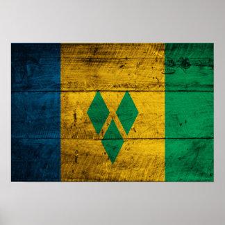St. Vincent de madera y bandera de las granadinas Poster