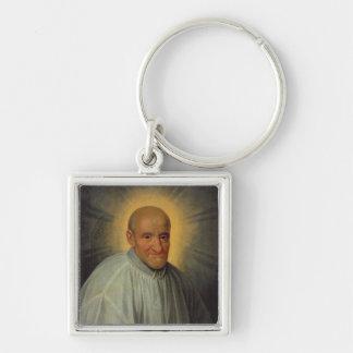 St. Vincent de Paul Llavero Cuadrado Plateado