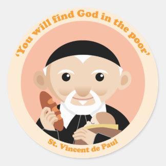 St. Vincent de Paul Pegatina Redonda