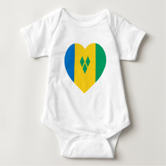 St Vincent / Grenadines Flag Heart Baby Bodysuit