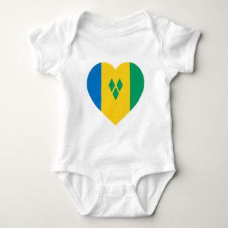 St Vincent / Grenadines Flag Heart Baby Bodysuit