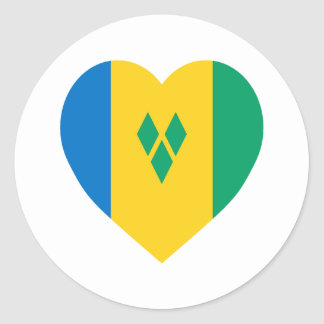St Vincent Grenadines Flag Heart Round Stickers
