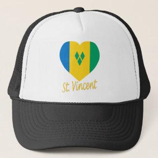 St Vincent / Grenadines Flag Heart Trucker Hat