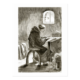 St. Vincent writing in his cell at Ferins, from 'T Postcard